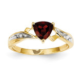 Diamond and Garnet Heart Ring 14k Gold Rhodium Y11587GA/AA