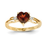 Diamond and Garnet Heart Ring 14k Gold Y11605GA/AA