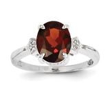 Diamond and Garnet Oval Ring 14k White Gold Y11610GA/AA