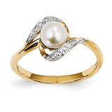 Diamond and Cultured Pearl Ring 14k Gold Y11649AA