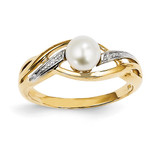 Diamond and Cultured Pearl Ring 14k Gold Y11650AA