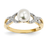 Diamond and Cultured Pearl Ring 14k Gold Y11651AA