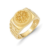 Ridged-Sides Circular Top Mens Diamond Ring Mounting 14k Gold Y1517