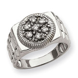 Ridged-Side Circular Top Mens Diamond Ring Mounting 14k White Gold Y1518