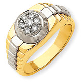 Ridged-Sides Circular Top Mens Ring Mounting 14k Two-Tone Gold Y1526