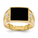 Men's Onyx and Diamond Ring 14k Gold Y1542AA