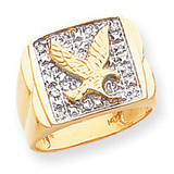 Squared Top with Eagle in Center Mens Diamond Ring Mounting 14k Gold Y1565