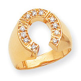 Mens Diamond Horseshoe Ring Mounting 14k Gold Polished Y1566