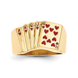 Enameled Royal Flush in Hearts Mens Ring 14k Gold Y1569