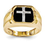 Diamond Men's Cross Ring 14k Gold Y1572AA