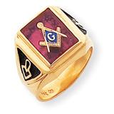 Men's Synthetic Ruby Masonic Ring 14k Gold Y1576M