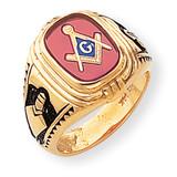 Men's Synthetic Ruby Masonic Ring 14k Gold Y1577M