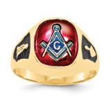 Men's Synthetic Ruby Masonic Ring 14k Gold Y1583M
