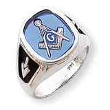 Enameled Synthetic Stone Mens Masonic Ring 14k White Gold Y1584M