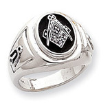 Men's Enameled Masonic Ring Mounting 14k White Gold Y1585