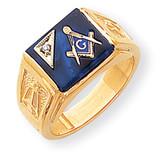 Diamond Men's Masonic Ring 14k Gold Y1586A