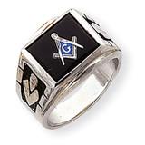 Men's Masonic Ring 14k White Gold Y1591M