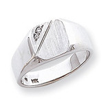 Diamond signet ring 14k White Gold Y1626AA