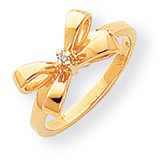 Diamond Bow Ring 14k Gold Polished Y1708AA