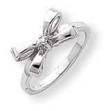 Polished Diamond Bow Ring 14k White Gold Y1709AA