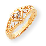 Diamond Heart Ring 14k Gold Polished Y1732AA