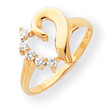 Diamond Heart Ring 14k Gold Polished Y1755AA