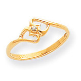 0.01ct. Diamond Heart Ring Mounting 14k Gold Polished Y1782