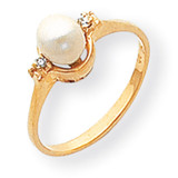Cultured Pearl & Diamond Ring 14k Gold Y1837PL/AA
