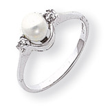 5mm Cultured Pearl Diamond ring 14k White Gold Y1838PL/AA
