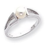Polished Cultured Pearl Ring Mounting 14k White Gold Y1840