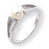 Cultured Pearl & Diamond Ring 14k White Gold Y1840PL