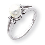 Polished .03ct. Diamond & Cultured Pearl Ring Mounting 14k White Gold Y1842