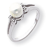 6mm Cultured Pearl Diamond ring 14k White Gold Y1842PL/AA