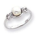 Polished .02ct. Diamond & Cultured Pearl Ring Mounting 14k White Gold Y1844