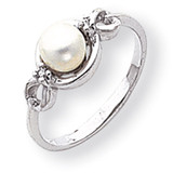 Cultured Pearl & Diamond Ring 14k White Gold Y1844PL/AA