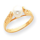 Cultured Pearl Filigree Ring Mounting 14k Gold Polished Y1845