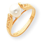 6mm Cultured Pearl ring 14k Gold Y1845PL