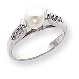 Polished Cultured Pearl Filigree Ring Mounting 14k White Gold Y1846