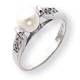 Cultured Pearl & Diamond Ring 14k White Gold Y1846PL