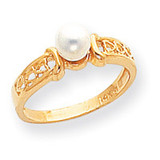 Cultured Pearl Heart Ring Mounting 14k Gold Polished Y1847