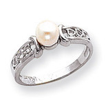 Polished Cultured Pearl Heart Ring Mounting 14k White Gold Y1848