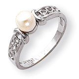 Cultured Pearl Diamond Cultured Pearl ring 14k White Gold Y1848PL