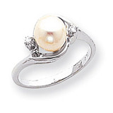 Polished .03ct. Diamond & Cultured Pearl Ring Mounting 14k White Gold Y1850