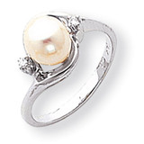 7mm Cultured Pearl Diamond ring 14k White Gold Y1850PL/AA