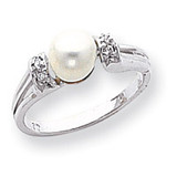 Polished .04ct. Diamond & Cultured Pearl Ring Mounting 14k White Gold Y1852