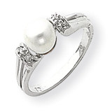 6mm Cultured Pearl Diamond Ring 14k White Gold Y1852PL/AA