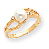 0.02ct. Diamond & Cultured Pearl Ring Mounting 14k Gold Polished Y1853