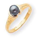 Black Cultured Pearl Diamond Cultured Pearl ring 14k Gold Y1855BP