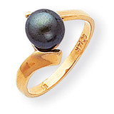 Black Cultured Pearl Ring 14k Gold Y1857BP
