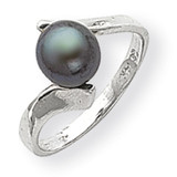 7mm Black Cultured Pearl Ring 14k White Gold Y1858BP